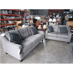 NEW ASHLEY MODERN GREY FABRIC SOFA AND LOVESEAT WITH 4 THROW PILLOWS, RETAIL $2899