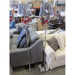 2 LARGE METAL FLOOR LAMPS WITH RED GLASS INSERTS