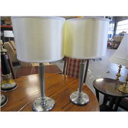 PAIR OF MODERN GREY TABLE LAMPS