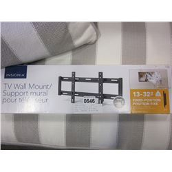 NEW OVERSTOCK INSIGNIA 13-32 INCH FIXED POSITION TV WALL MOUNT, COMPLETE, UP TO 40 LBS