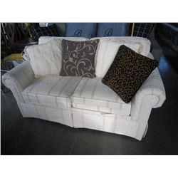 ASHLEY SIGNATURE CONTEMPORARY GREY AND WHITE UPHOLSTERED SOFA, LOVESEAT, AND CHAIR, FLOOR MODEL RETA