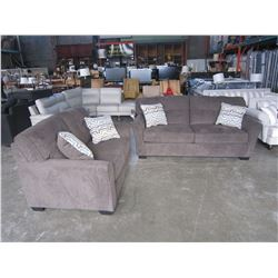 NEW BENCHCRAFT GREY FABRIC SOFA AND LOVESEAT, WITH 4 THROW PILLOWS, VERY COMFORTABLE, RETAIL $2789