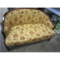 WOOD FRAMED UPHOLSTED LOVE SEAT