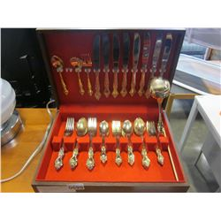 24K GOLD PLATED STAINLESS CUTLERY IN CANTEEN
