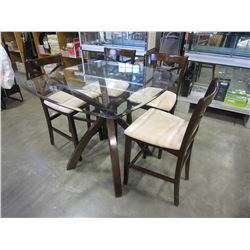MODERN GLASSTOP DINING TABLE AND 4 BAR STOOLS