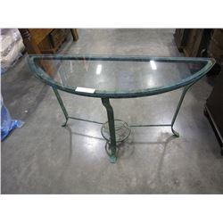 METAL GLASSTOP HALL TABLE