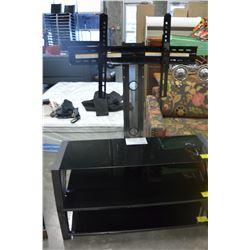 NEW MODERN GREY WITH GLASS 3 SHELF TV MOUNT SYSTEM, RETAIL $499