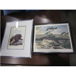 "GROUP OF SEVEN A.J.CASSON WHITE PIN AND SW COLEMAN ""THE BEAR NATIVE PRINT"""