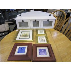 WOODEN WALL SHELF AND 3 SMALL GOLD FRAMED FLORIAL PICS AND2 WOOD FRAMED FLORAL