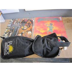 BLACK BAG OF DRUM STICKS, PRECUSSION ACCESSORIES AND 2 LPS, VAN HALEN AND JOHN HARFORD 1972 ORIGINAL