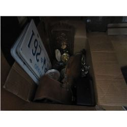 BOX LOT OF ESTATE GOODS, SOME VINTAGE WITH ONTARIO LICENSE PLATES