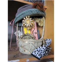 VINTAGE COLLECTION IN BASKET PENDANT LAMP, VINTAGE HATS, AND VANITY SET