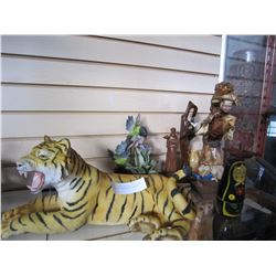 WOOD FIGURES AND WOOD ITEMS W/ TIGER AND HUMINGBIRD STATUE
