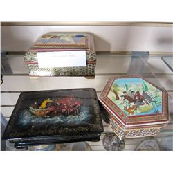 3 HAND PAINTED LAQUER BOXES