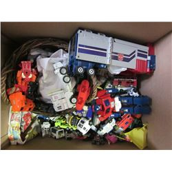 LOT OF TRANSFORMERS TOYS AND TOY CARS