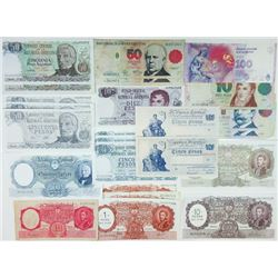 Banco Central de la Republica Argentina. 1940s-2010s. Large Group of 65+ Issued Notes.