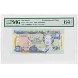 Bermuda Monetary Authority, 2000 Low S/N 21, Replacement / Star Banknote.