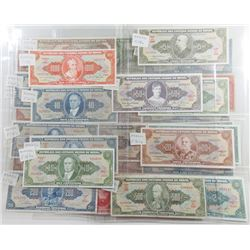 Tesouro Nacional. 1950s-1960s. Group of 30 Issued Notes.