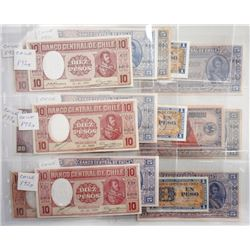 Banco Central de Chile. 1930s-1940s. Group of 17 Issued Notes.