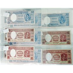 Banco Central de Chile. 1940s-1950s. Group of 27 Issued Notes.