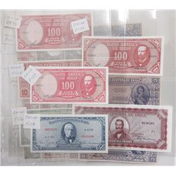 Banco Central de Chile. 1950s-1960s. Group of 19 Issued Notes.