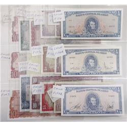 Banco Central de Chile. 1960s-1970s. Group of 16 Issued Notes.