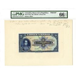 Banco de la Republica, ND (1926-28), 5 Pesos Oro Proof Banknote.