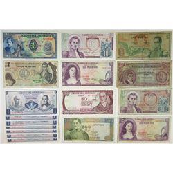 Banco de la Republica. 1940s-1980s. Group of 17 Issued Notes.