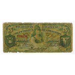 Banco Nacional De LA Republica De Colombia, 1886 Issued Banknote.