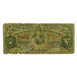 Banco Nacional De LA Republica De Colombia, 1886 Issued Banknote.