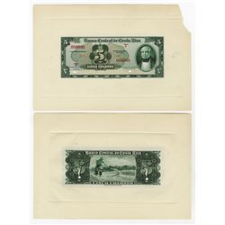 Banco Central De Costa Rica, ND (1951-52) Series A Proof Face and Back.