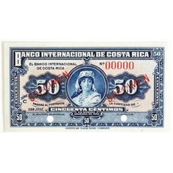 Banco Internacional De Costa Rica, 1935 Specimen Banknote.