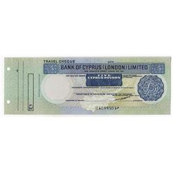 Bank of Cyprus (London) Limited. Circa 1950s-1960s. Specimen Travel Cheque.