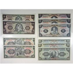 Banco Central del Ecuador. 1982-1992. Group of 10 Issued Notes.