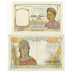 Banque De L'Indochine, 1032 ND Issue Pair.