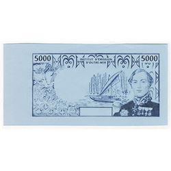 French Administration, Institut D'Emission D'Outre-Mer, ND ca.1996 Proof Back Essay Banknote.