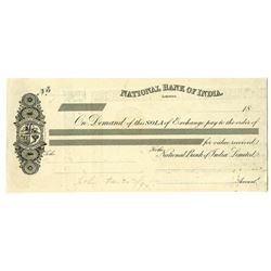 National Bank of India, 1890's Proof Sola of Exchange by Perkins Bacon.