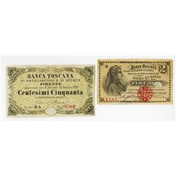 Banca Toscana. L.1870. Pair of Issued Notes.