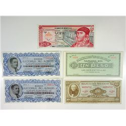 Banco de Mexico & Other Issuers. 1915-1972. Quintet of Issued Notes.