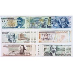 Banco de Mexico. 1980s-1990s. Group of 39 Issued Notes.