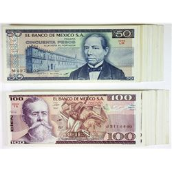 Banco de Mexico. 1981-1982. Group of 80+ Issued Notes.
