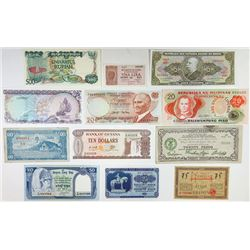 Assorted Asian, European, & South American Issuers. 1940s-1990s. Dozen of Radar Serial Number Notes.