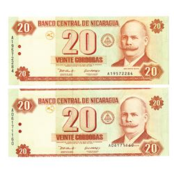 Banco Central de Nicaragua, 2002, Pair of Error Notes.