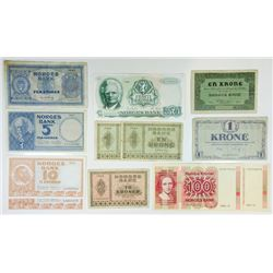Norges Bank, 1917 to 1986 Banknote Assortment.