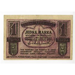 Asygnata Powiatowa, Jedna Marka 1919 Private Local Scrip Note.