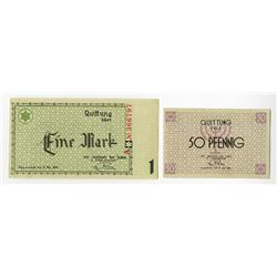 Litzmannstadt Ghetto. 1940. Pair of Issued Scrip.