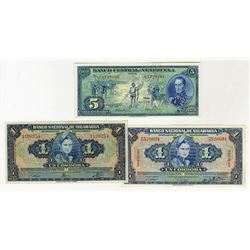 Banco Nacional de Nicaragua & Banco Central de Venezuela, 1941-1966, Trio of Issued Notes.