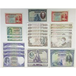 Banco De Espana, 1928 to 1970 Issue Banknote Assortment.