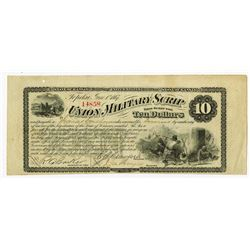 Union Military Scrip, 1867 $10 Obsolete Banknote.