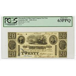 Chesapeake & Ohio Canal Co., 1841 Issued Obsolete Post Note.